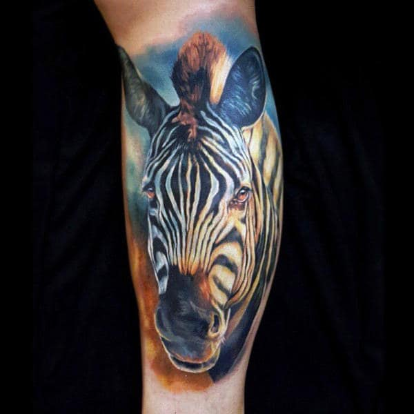 Realistic Black And White Mens Animal Zebra Tattoo