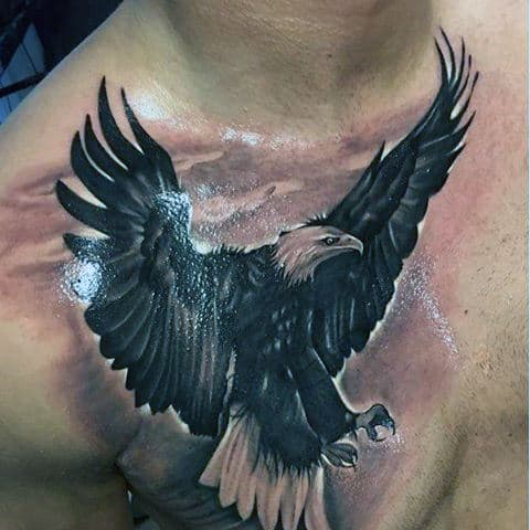 Realistic Black Bald Eagle Tattoo Males Chest