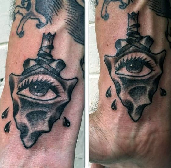 Realistic Black Eye Inside Arrowhead Tattoo On Wrist For Men