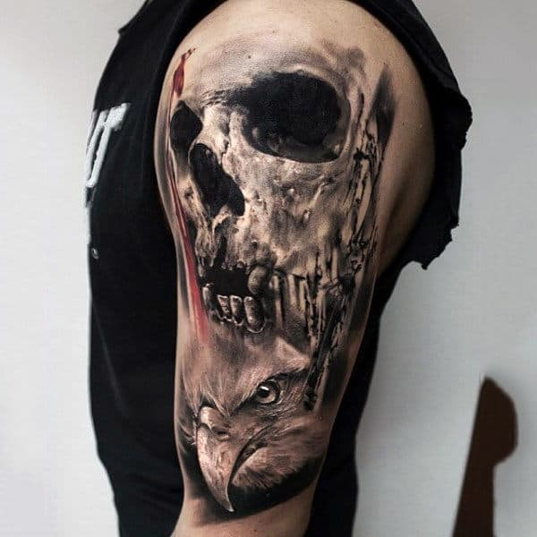Realistic Black Ink Half Sleeve Tattoo On Male Of Skull And Hawk