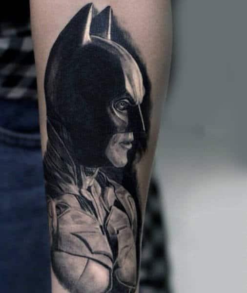 Realistic Black Ink Shaded Male Batman Tattoos On Arm
