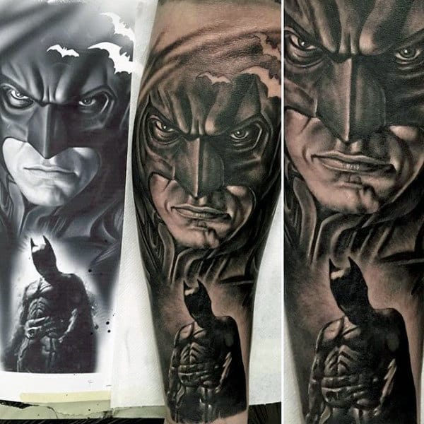 Realistic Black Ink Shaded Mens Batman Tattoo Design Inspiration