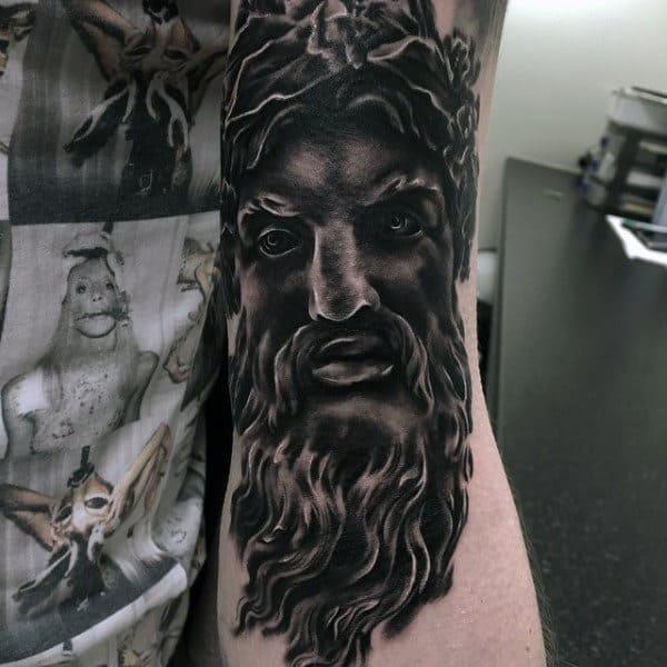 Realistic Black Inkmens Greek Zeus Tattoos