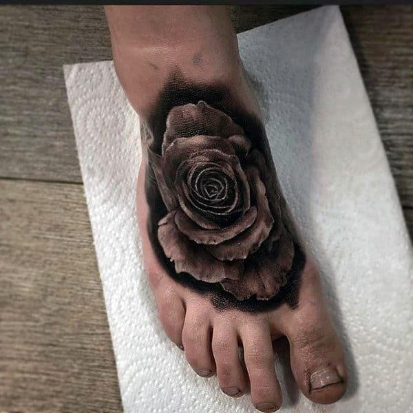 Realistic Black Rose Foot Tattoos For Men