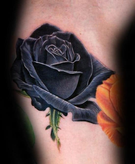 Realistic Black Rose Mens Arm Tattoo Ideas