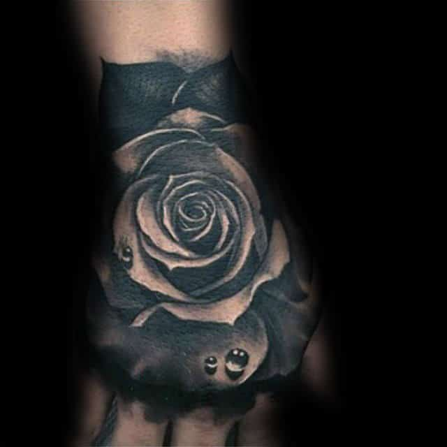 85928fe48 Realistic Black Rose With Water Droplets Mens Hand Tattoos