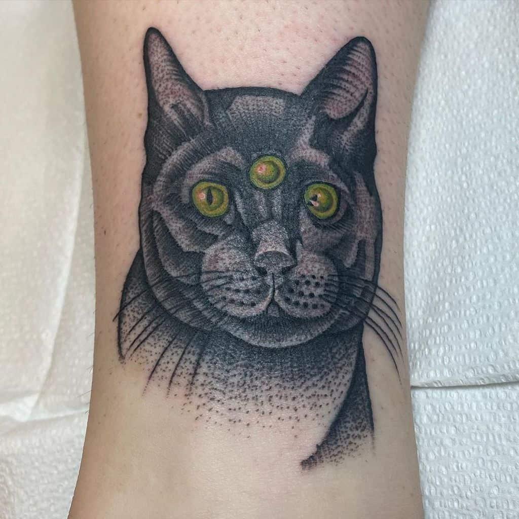 Realistic Black Work Tattoo