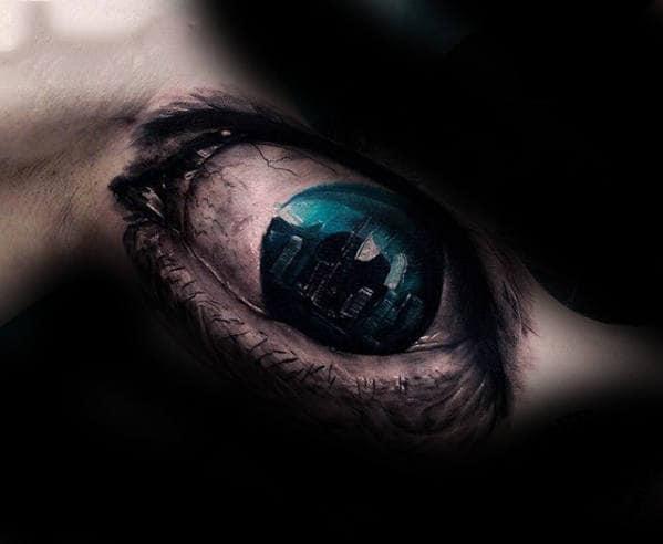 Realistic Blue Eye With City Skyline Guys Arm Tattoo
