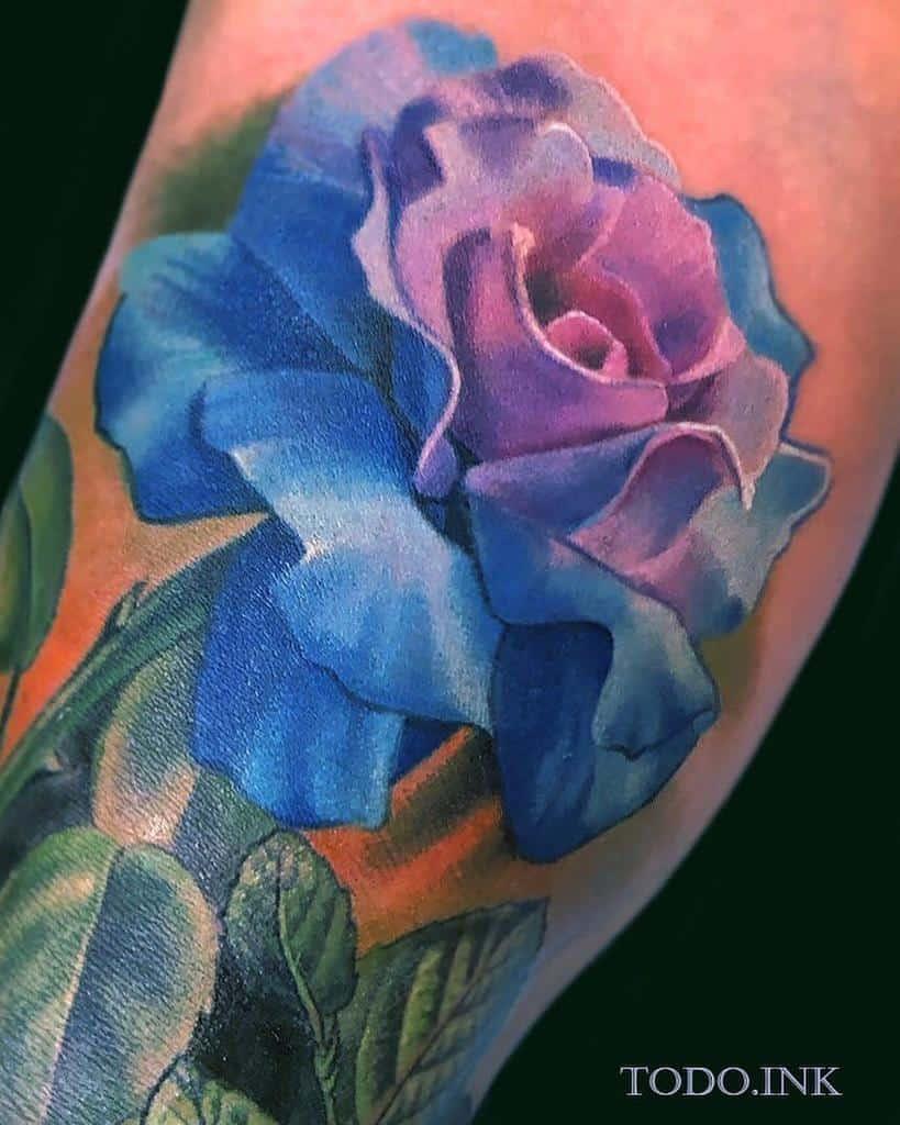 realistic blue rose tattoos abt_tattoo