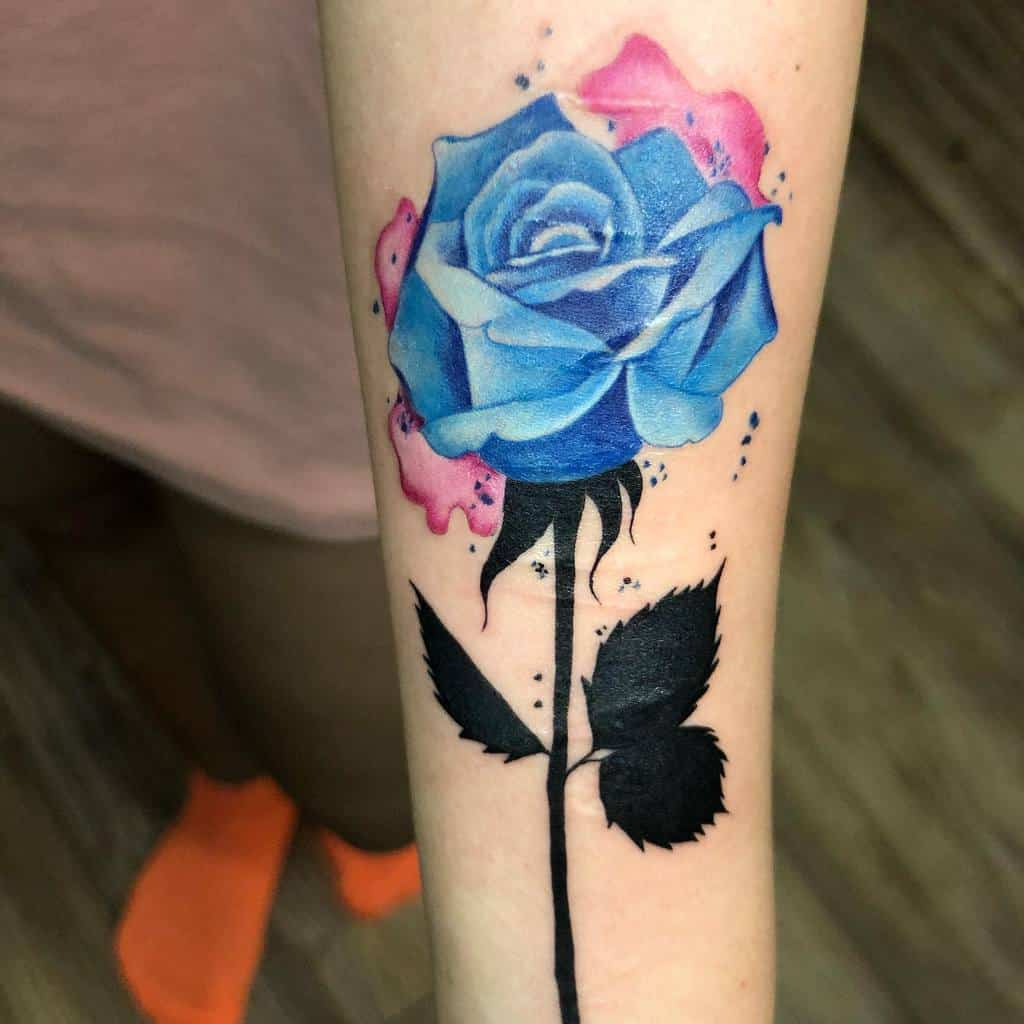 realistic blue rose tattoos chuck_inky