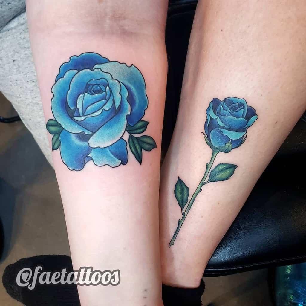 realistic blue rose tattoos faetattoos