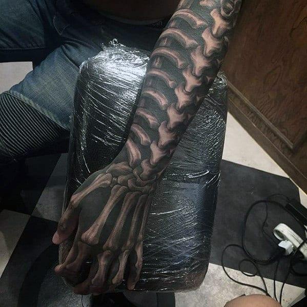 Realistic Bones Blackwork Mens Badass Hand Tattoo
