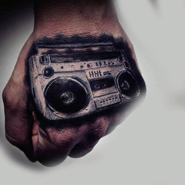 Realistic Boombox Mens 3d Hand Tattoos