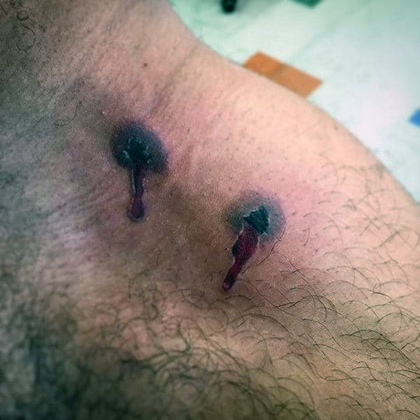 Realistic Bullet Holes Collar Bone Tattoos For Men