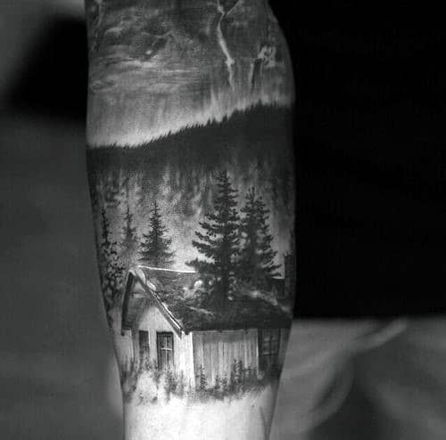 Realistic Cabin Forest Guys Forearm Sleeve Tattoo Design Ideas