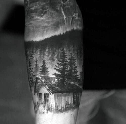 Realistic Cabin Forest Guys Forearm Sleeve Tattoo Design Ideas