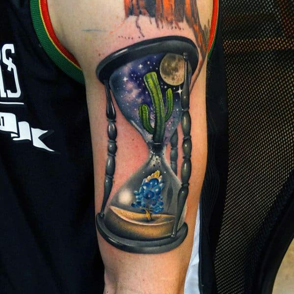 Realistic Cactus Inside Hourglass Mens Tattoos