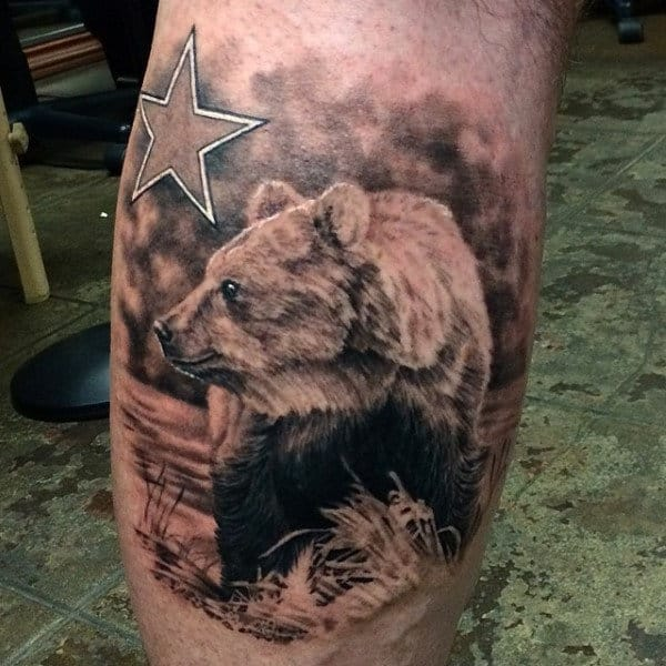 Realistic California Bear Mens Leg Calf Tattoos