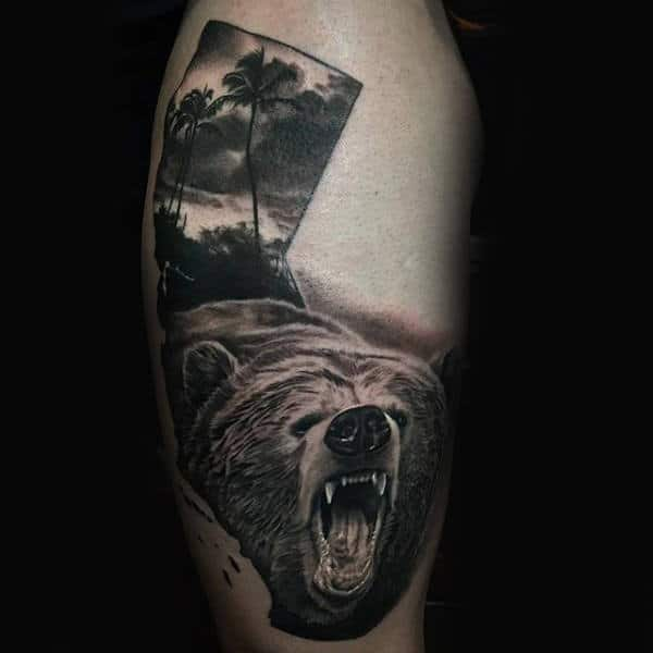 Realistic California Bear Mens Ocean Tattoo On Mans Thigh