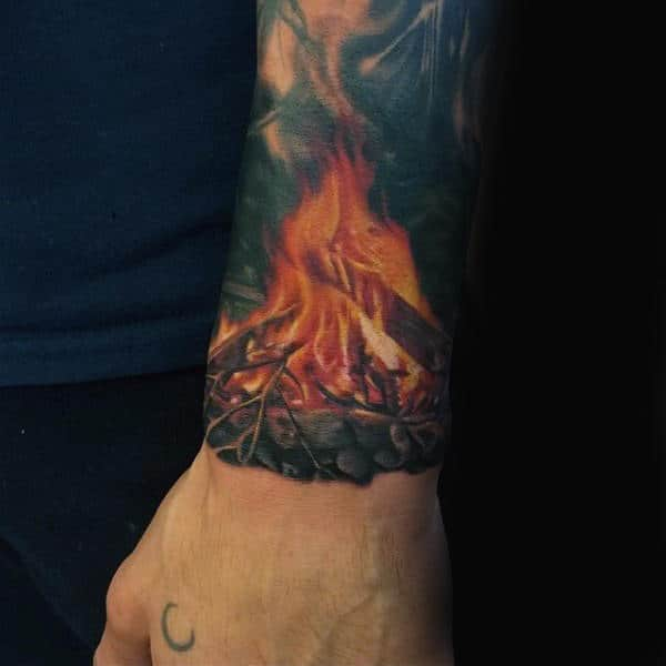 Realistic Campfire Male Wrist Tattoos