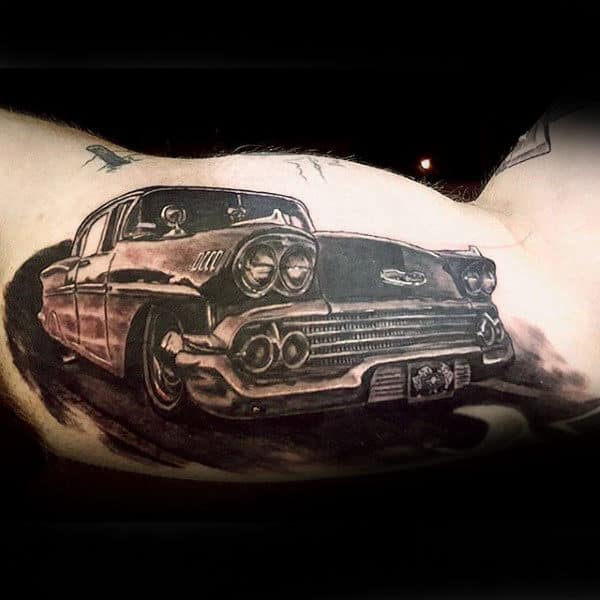 Realistic Car Hot Rod Tattoo Male Arms