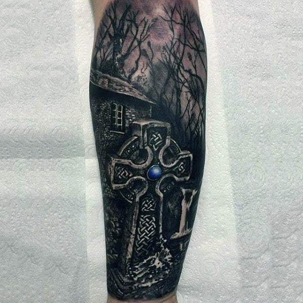 Realistic Celtic Cross Grave Stone Mens Forearm Sleeve Tattoos