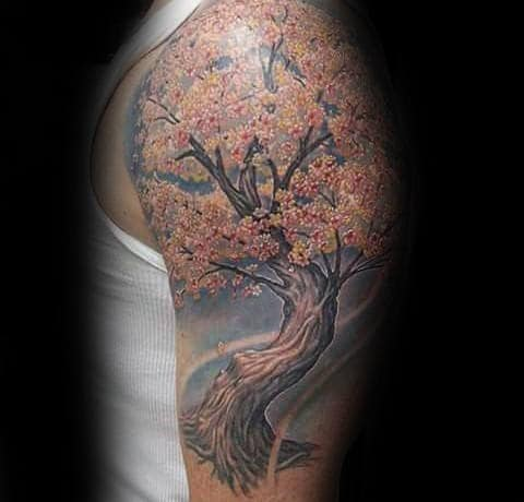 Realistic Cherry Blossom Mens Upper Arm Tree Tattoos