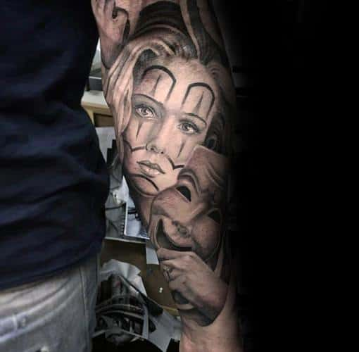 Realistic Chicano Sleeve Drama Mask Tattoo On Men