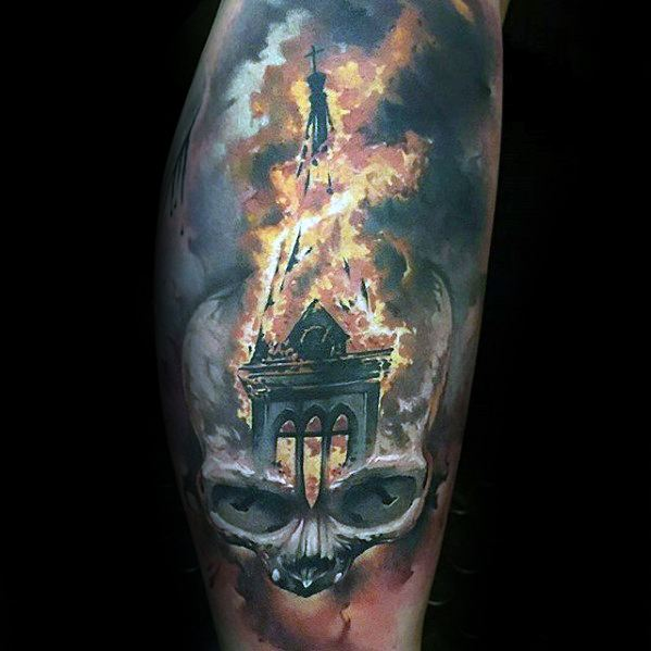 Realistic Church Tower Flaming Skull Male Tattoo Ideas Thigh Sleeve