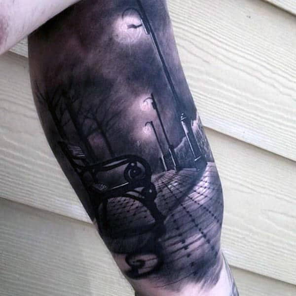 Realistic City Street Bench At Anight Mens Awesome Half Sleeve Tattoo With Shaded Black And White Ink