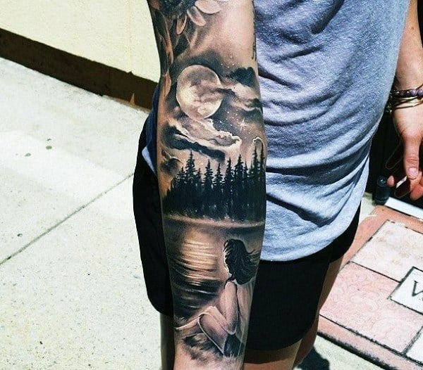 Realistic Clouds And Stars Tattoos For Gentlemen On Forearm