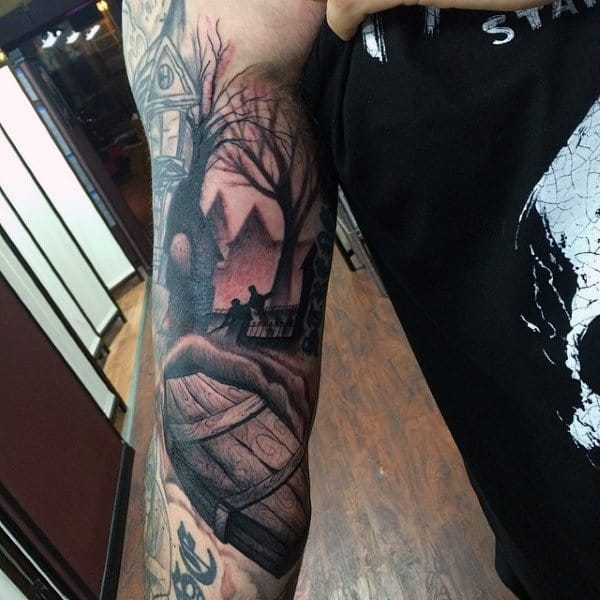 Realistic Coffin Scene Mens Half Sleeve Tattoo