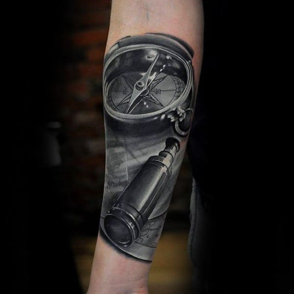 Realistic Compass Insane Mens Forearm Sleeve Tattoo Ideas