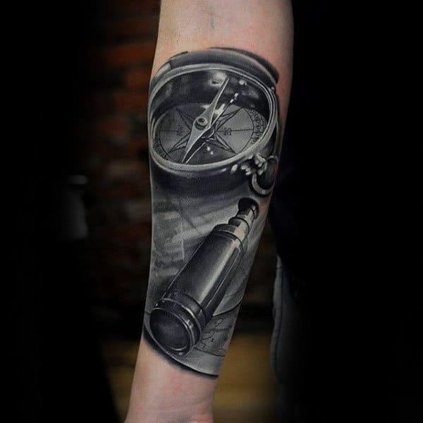 Realistic Compass Insane Mens Forearm Sleeve Tattoo Ideas