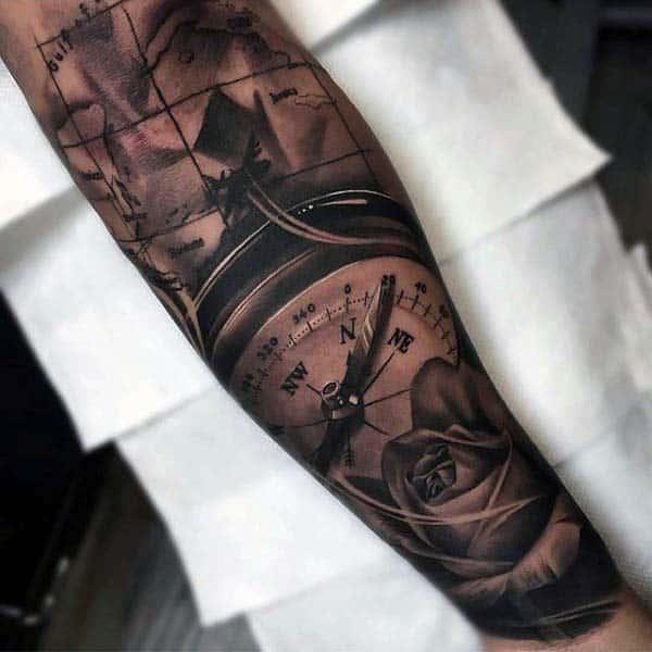 Realistic Compass Mens Nice Forearm Sleeve Tattoo