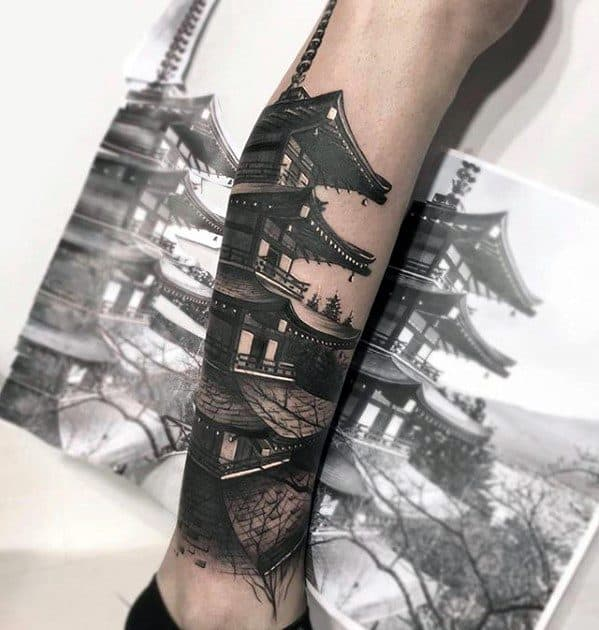 Realistic Cool Male Pagoda Tattoo Designs On Leg
