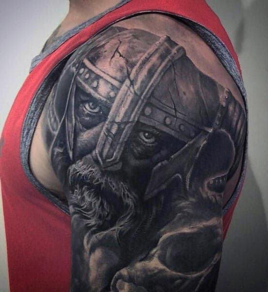 Realistic Cool Viking Stone Guys Arm Tattoos