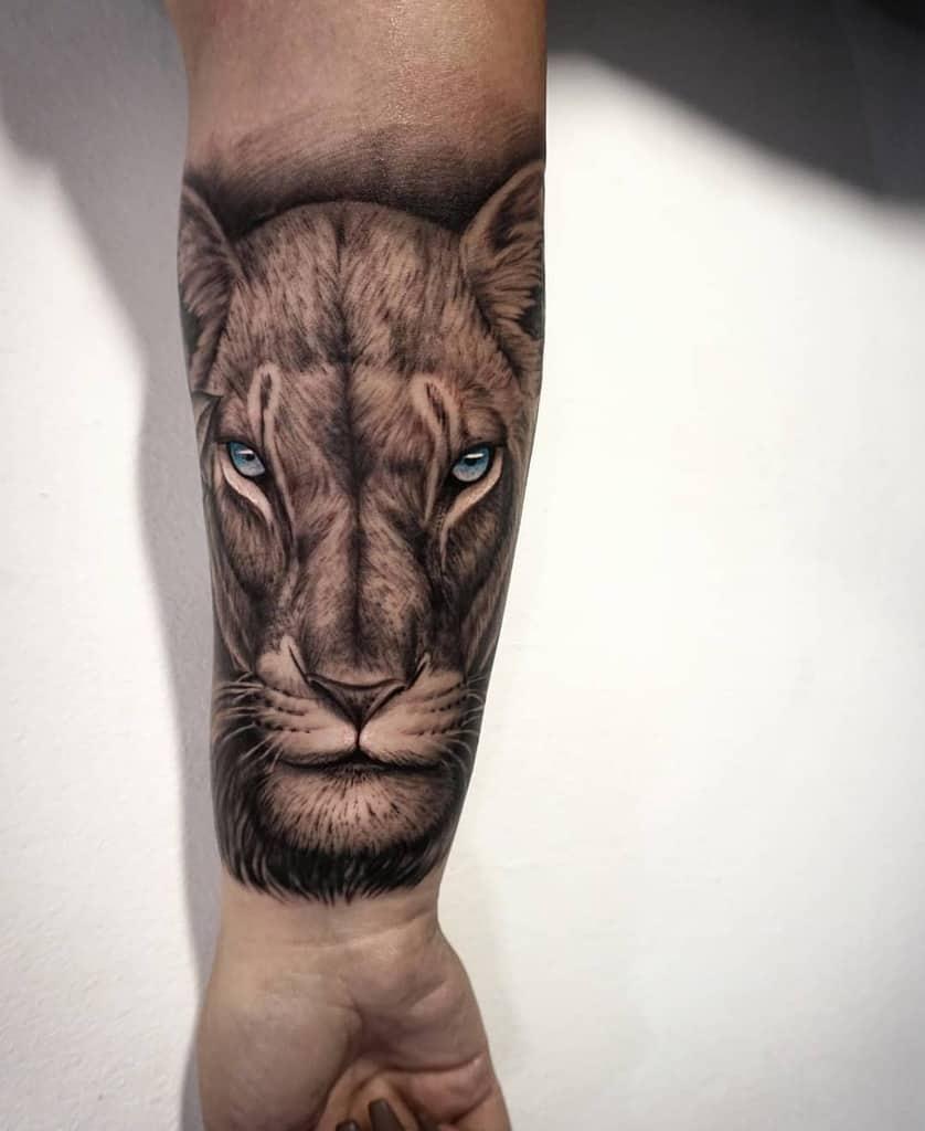 Realistic Custom Lioness Tattoo