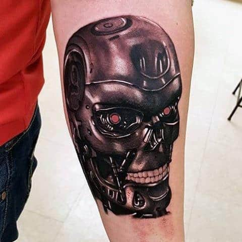 Realistic Cyborg Head Male Terminator Inner Forearm Tattoo Designs