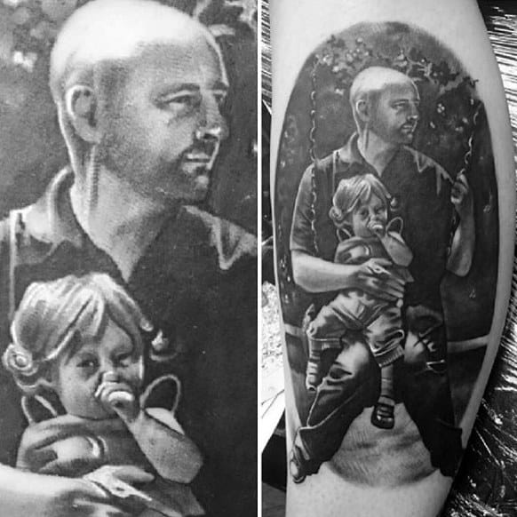 Realistic Dad Swinging With Cute Baby Family Tattoo Guys Forearms