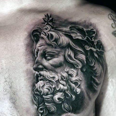 Realistic Dark Greek God Tattoo On Chest For Men