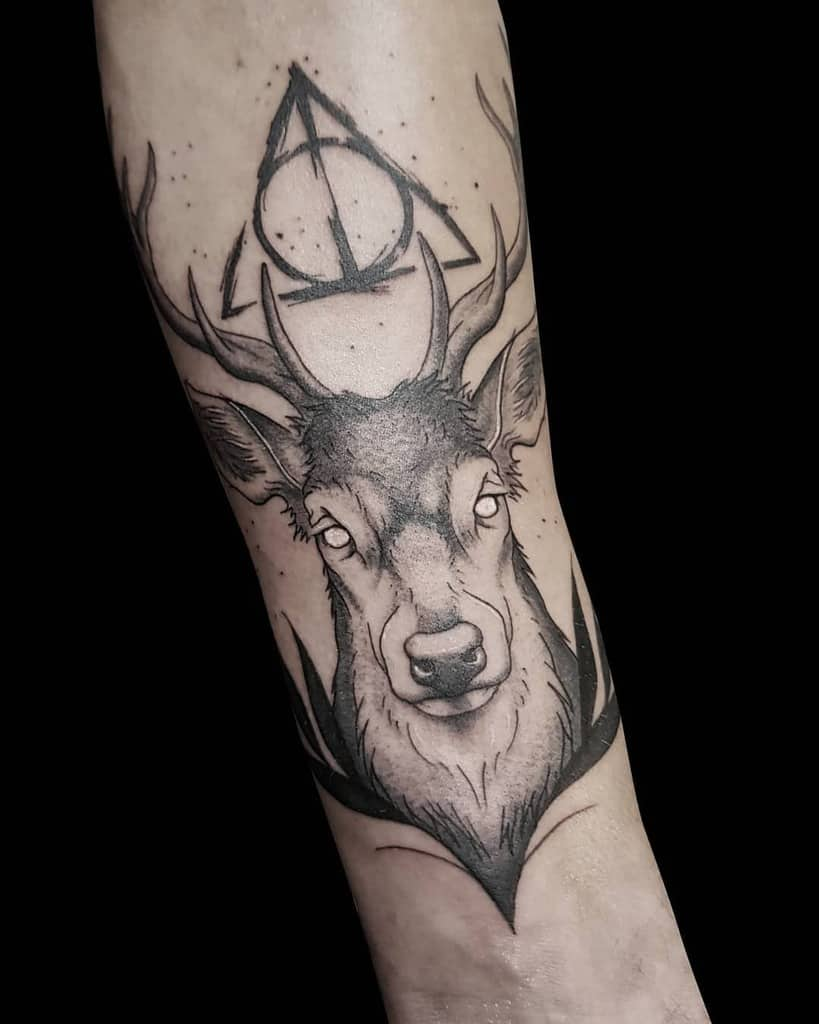 realistic deer harry potter deathly hallows tattoo