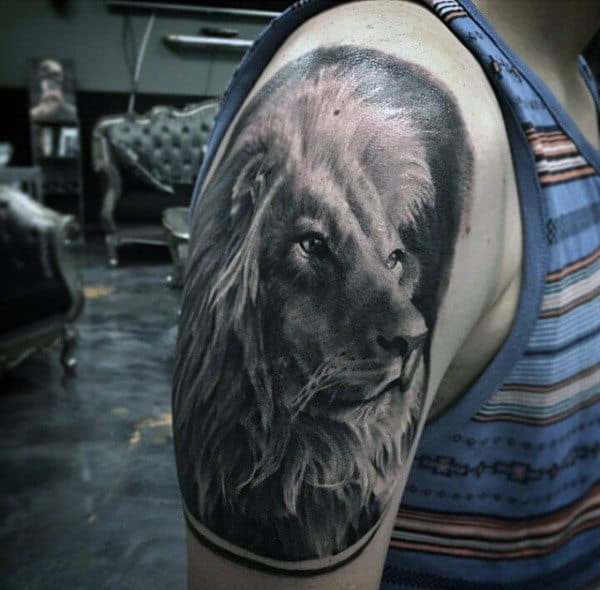 Realistic Detailed Mens Lion Half Sleeve Tattoos