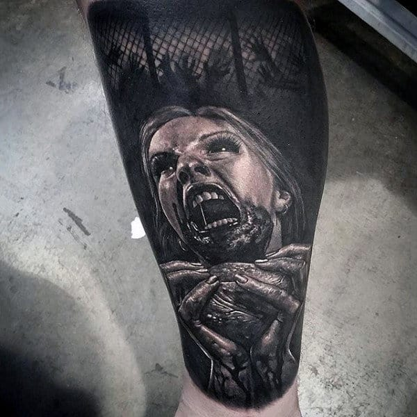 Realistic Detailed Zombie Eating Heart Mens Sleeve Tattoos