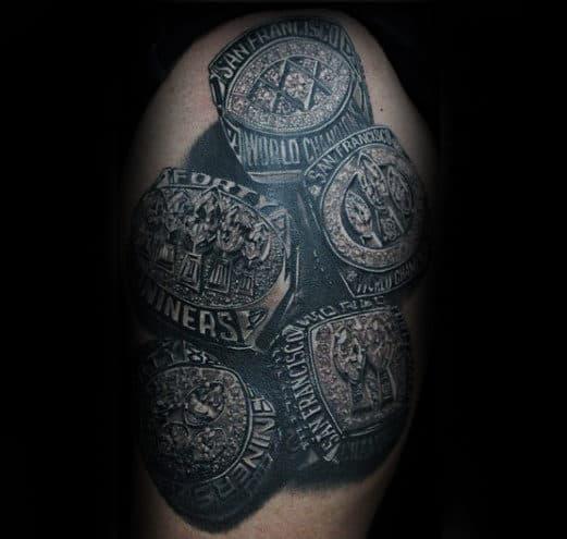 Realistic Diamond Championship Rings 49ers Mens Arm Tattoo