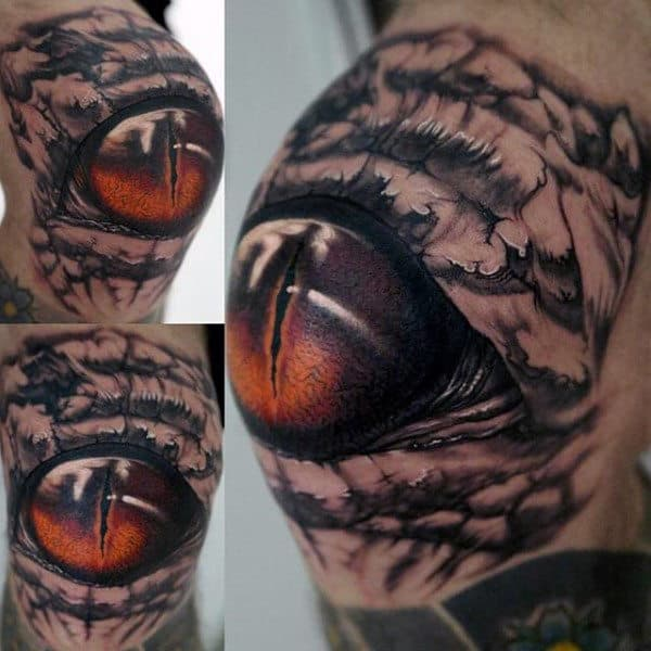 Realistic Dinosaur Eye Mens 3d Knee Tattoos