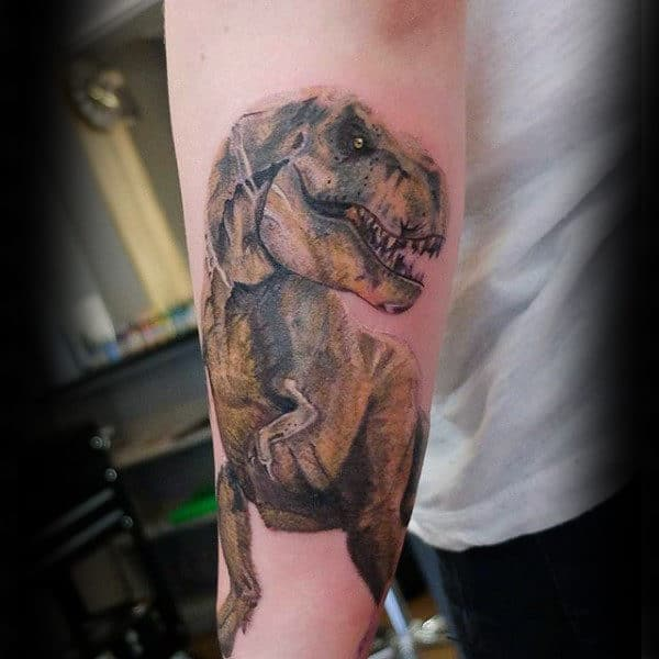 Realistic Dinosaur Tattoo Male Forearms