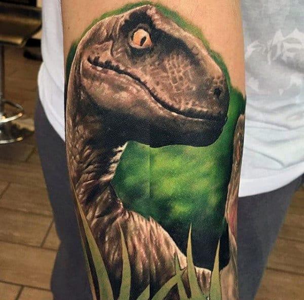 Realistic Dinosaur Tattoo Mens Forearm