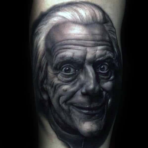 Realistic Doc Brown Back To The Future Male Arm Tattoos