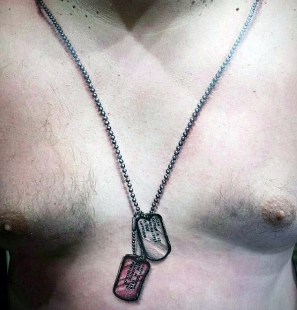 Realistic Dog Tags Mens Creative Chest Tattoos
